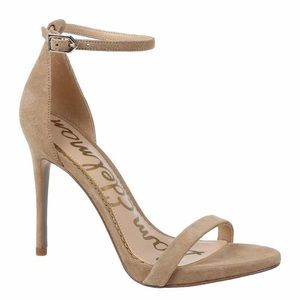 Sam Edelman Ariella nude suede ankle strap heels